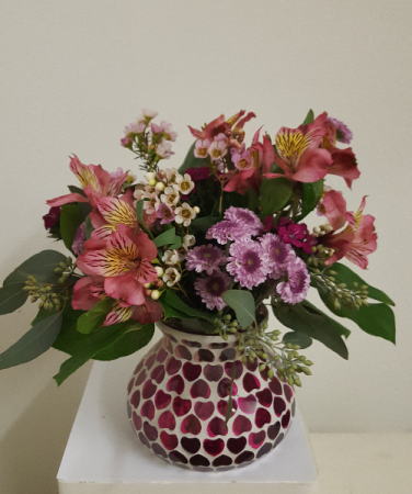 Mosaic Heart Vase Arrangement