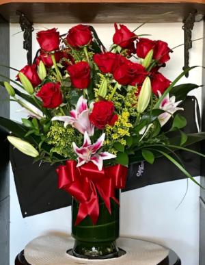 Precious Love 2 Dozen Long Stem Red Roses w Stargazers Lilies in Reno, NV | Flower Bell