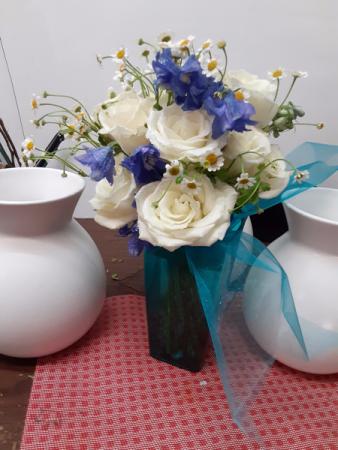 mothers blue swade shoes blue plastic vase