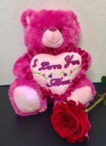 Mother's Day Bear With Single Rose