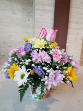 Spring Flower Bouquet in Decorative Cache Pot