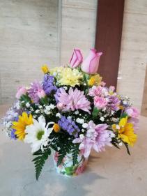 Spring Flower Bouquet in Decorative Cache Pot