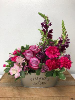 Prime Pink Garden Container Arrangement in North Bend, OR | PETAL TO THE METAL FLOWERS