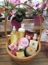 Pamper Me Basket of Goodies Custom Fitzgerald Flowers Basket