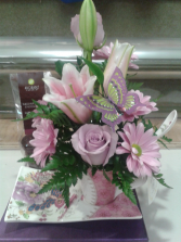 MOTHER'S DAY GIFT IN A BOX Cup and saucer floral arrangement