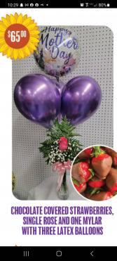 Mothers Day Special #3 Balloons Flower and Chocolate covered strawberries