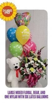 Mothers Day Special #6 Flower, balloons, and bear