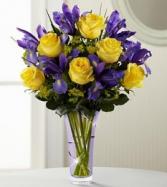 Golden Roses Mixed Vase Bouquet