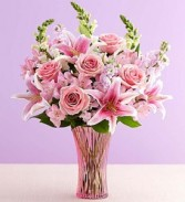 In Love With Pink! Fragrant Blooms in Textured Vase