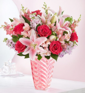 MOTHER'S EMBRACE PINK ROSE AND LILIES IN PINK DESIGNED VASE