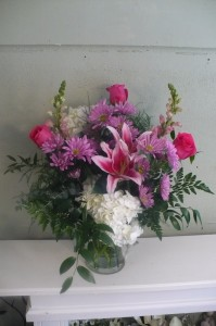 "Serenity Garden ,Hydrangea, Lilies, Nested in Lush Greens24""high"