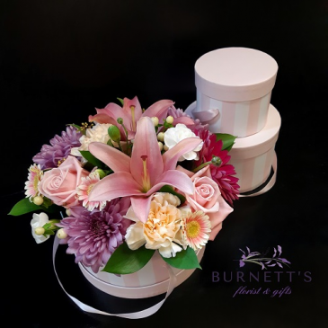 Pink Hat box Arrangement