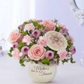 Mothers Love is a Treasure mixed arrangement of Roses, Carnations and Buttons