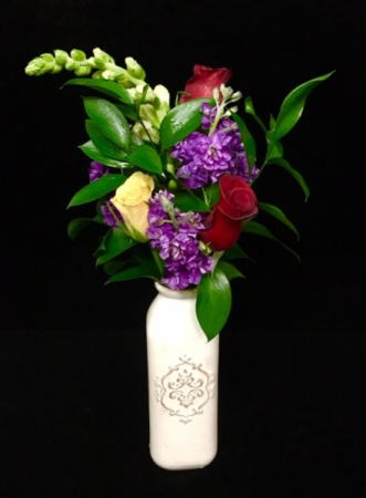Mother's Love Mixed Rose Design in Elegant Ceramic Vase