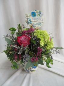 Mother's Love Mug Arrangement with Fresh Flowers