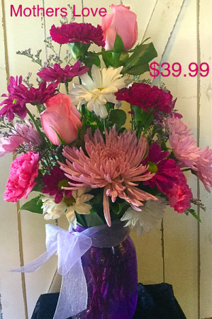 Mothers Love Purple mason jar with purple and pink flowers in Pelican Rapids, MN | Brown Eyed Susans Floral