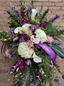 Mother's Purple and white standing spray standing spray