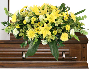 Mourning Sunshine Casket Spray in Burns, OR | 4B Nursery And Floral