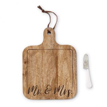 Mr. & Mrs. Engraved Wood Paddle Board Set Gift Item