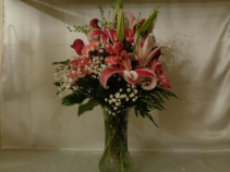 Mrs. A's Lilly Vase arrangement