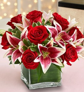Much Love Cube of Roses and Lilies.