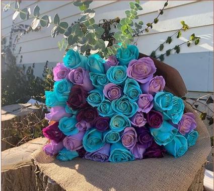 Multi-Color Rose Arrangement HAND TIED BOUQUET