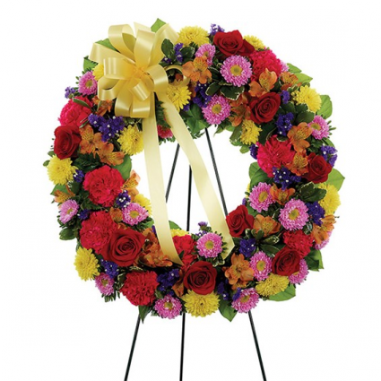 Multi-Color Standing Sympathy Wreath Item #BF192-11KM
