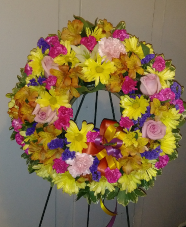 Multi-Color Wreath (Med) Sympathy Flowers