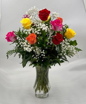Multi Colored Dozen Rose