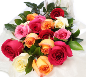 MULTI COLORED ROSE WRAP Exclusively at Mom & Pops in Oxnard, CA | Mom and Pop Flower Shop