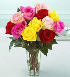 Multi Colored Roses Arrangement