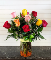 MULTI COLORED ROSES ARRANGEMENT Exclusively at Mom & Pops