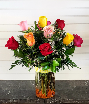 MULTI COLORED ROSES ARRANGEMENT Exclusively at Mom & Pops in Ventura, CA | Mom And Pop Flower Shop
