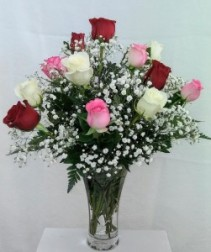 Multi Colored Roses Rose Arrangement in Glass Vase