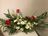 Multi White Accented with Roses Sympathy Arrangement