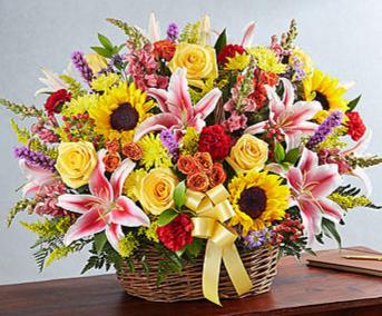 Multicolor Sympathy Basket - Bright  Sympathy Arrangement