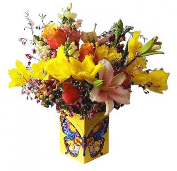 Multicolor Butterfly  Flower Arrangement