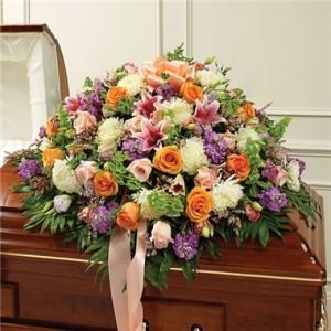 Multicolor Pastel Mixed Flower Half Casket Cover