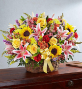 Multicolor Fresh Basket Arrangement