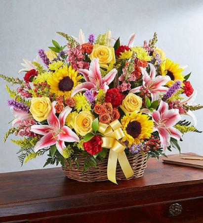Multicolor Fresh Basket Arrangement