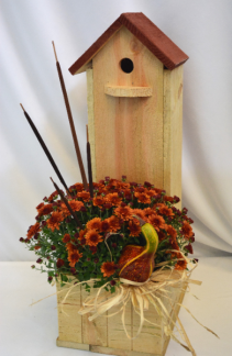 MUMS THE WORD BLOOMING PLANT/BIRD HOUSE