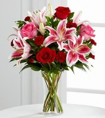 My Darling Bouquet  Red roses and Stargazers
