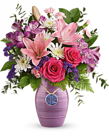 My Darling Dragonfly Bouquet Mixed Arrangement of Roses, Lillies, Daisies and Alstroemeria