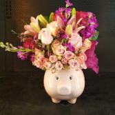 My First Piggy Bank Welcome Baby Flower Arrangement