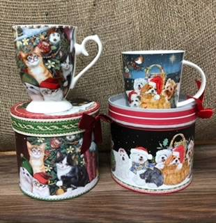 Christmas boxed mugs Kittens or puppies