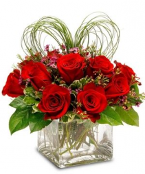 My Heart Belongs To You Dozen red roses in cube vase