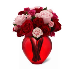 My heart is yours Red Roses and pink roses  in Aurora, IL | Karen's Flower Boutique