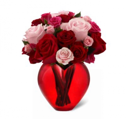 My heart is yours Red Roses and pink roses