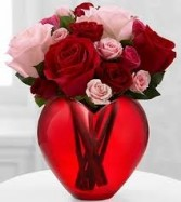 My Heart to Yours Heart Shaped Glass Vase