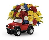 Red JEEP Floral Bouquet in Whitesboro, NY | KOWALSKI FLOWERS INC.